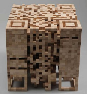 QR Code wooden sculpture